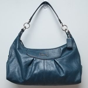 COACH   TEAL LEATHER PURSE, SILVER HARDWARE
